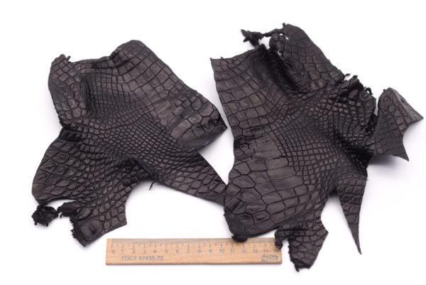 Кожа крокодила, черная- kr-102