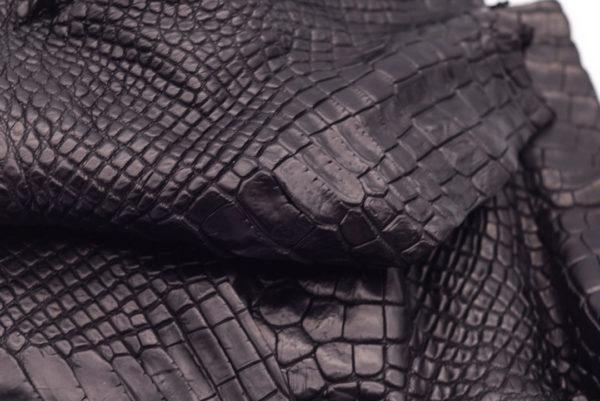 Кожа крокодила, черная- kr-105