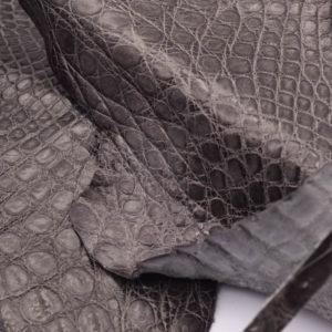 Кожа каймана, серый хаки- kr-129
