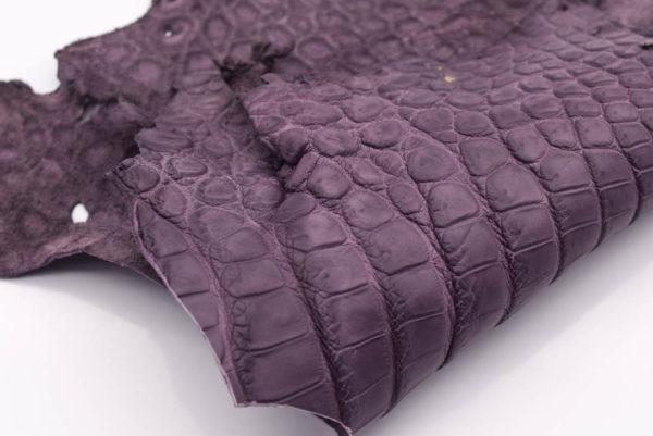 Кожа крокодила, серо-сиреневая- kr-166