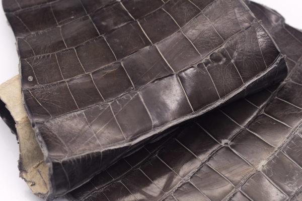 Кожа кроко, серый хаки, 63х22 см.- kr-75