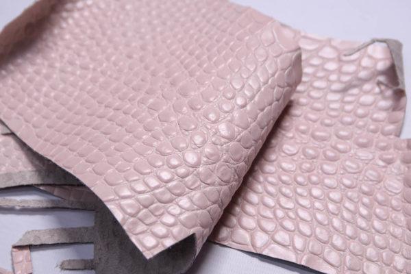 Кожа КРС с тиснением под кроко, розовая, Tuscania S.p.A. -109456
