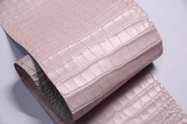 Кожа КРС с тиснением под кроко, розовая, Tuscania S.p.A. -109460