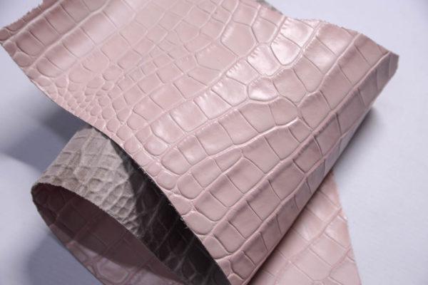 Кожа КРС с тиснением под кроко, розовая, Tuscania S.p.A. -109464