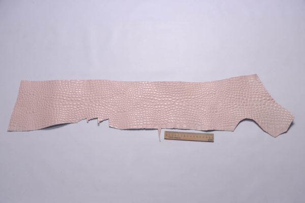 Кожа КРС с тиснением под кроко, розовая, Tuscania S.p.A. -109467