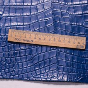 Кожа КРС с тиснением под кроко, синяя, 49 дм2. -109484