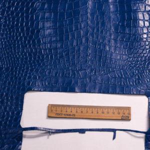 Кожа КРС с тиснением под кроко, синяя, 95 дм2. -109486