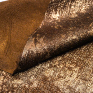 Кожа МРС с ворсом, коричнево-золотая, 60 дм2. -109525
