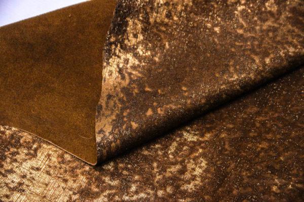 Кожа МРС с ворсом, коричнево-золотая, 61 дм2. -109526