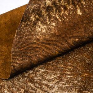 Кожа МРС с ворсом, коричнево-золотая, 42 дм2. -109528