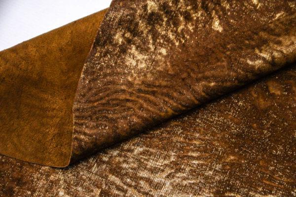 Кожа МРС с ворсом, коричнево-золотая, 60 дм2. -109527