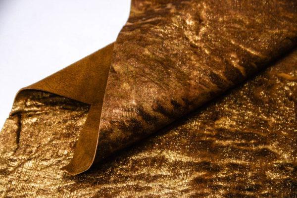 Кожа МРС с ворсом, коричнево-золотая, 31 дм2. -109529
