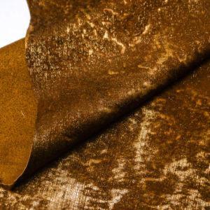 Кожа МРС с ворсом, коричнево-золотая, 51 дм2. -109530