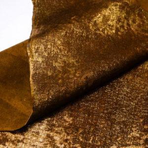 Кожа МРС с ворсом, коричнево-золотая, 43 дм2. -109531