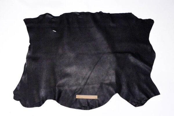 Кожподклад свиной (спилок) вощёный, чёрный, 89 дм2.-401077