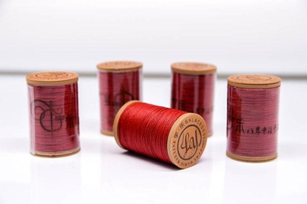 """Нить """"GALACES"""" вощеная круглая 0,55 мм. Волокно RAMIE. Красная-m015"""