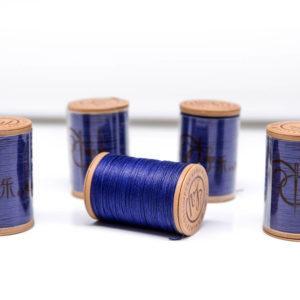 """Нить """"GALACES"""" вощеная круглая 0,55 мм. Волокно RAMIE. Темно-синяяя-m028"""