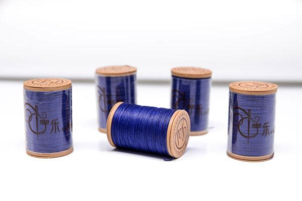 """Нить """"GALACES"""" вощеная круглая 0,55 мм. Волокно RAMIE. Синяя-m028"""