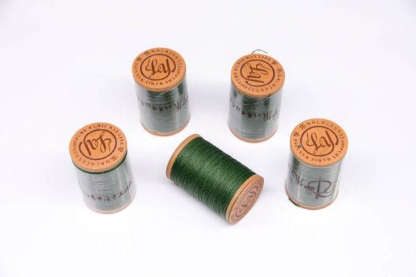 """Нить """"GALACES"""" вощеная круглая 0,55 мм. Волокно RAMIE. Зеленая-m033"""