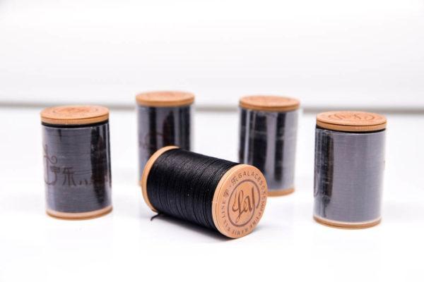 """Нить """"GALACES"""" вощеная круглая 0,55 мм. Волокно RAMIE. Черная-m999"""
