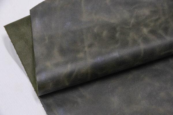 Кожа КРС винтажная, оливковая, 163 дм2.-PT1-24
