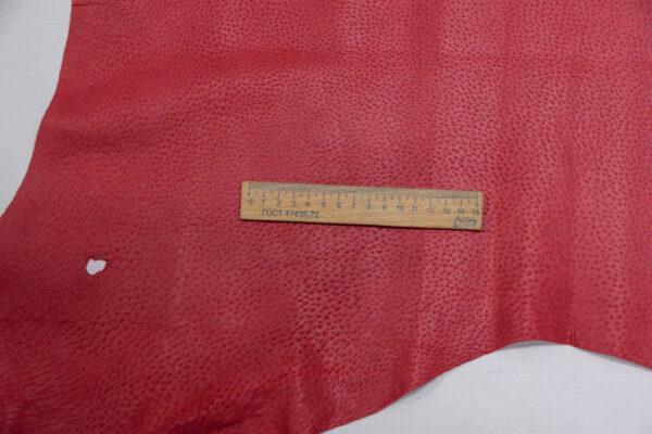 Кожподклад свиной (спилок) вощёный, малиновый, 10,5 фут (98 дм2).-PT1-48