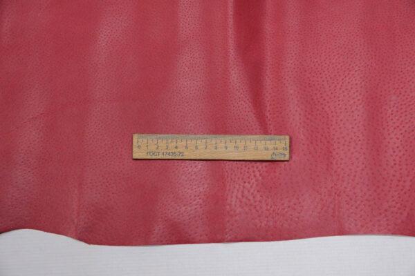 Кожподклад свиной (спилок) вощёный, малиновый, 10,75 фут (100 дм2).-PT1-51