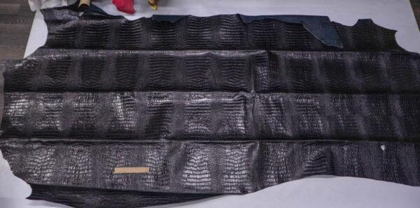 Кожа КРС с тиснением под кроко, черная, 254 дм2.-PT1-73