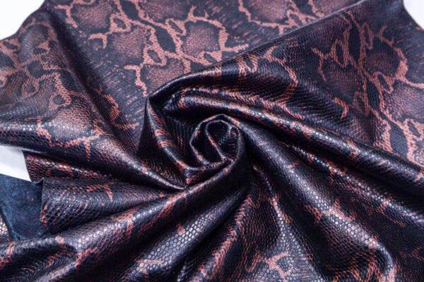 Кожа одёжная МРС с принтом, черно-бронзовая, 6,25 фут. (58 дм2)-200102