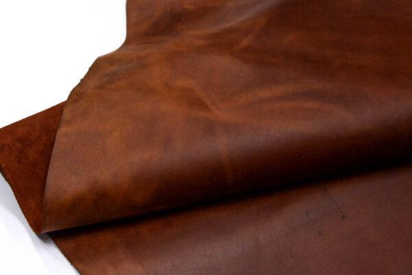 Кожа КРС крейзи хорс (Crazy Horse) с эффектом пул ап (Pull Up), рыже-коричневая, 167 дм2.-D1-141