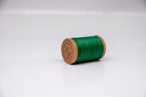 """Нить """"GALACES"""" вощеная круглая 0,55 мм. Волокно RAMIE. Изумрудный-m032"""