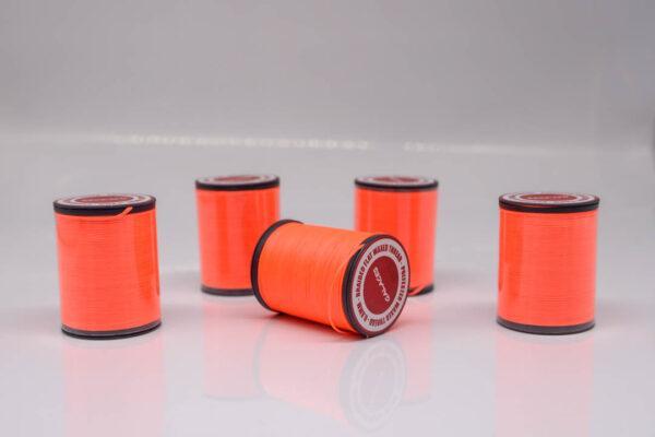 """Нить """"GALACES"""" вощеная плоская 0,8 мм. Неон оранжевый - s076"""