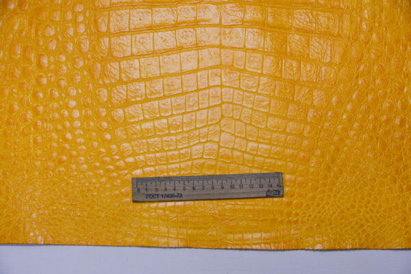 Кожа КРС с тиснением, желтая, 233 дм2.-AB1-107