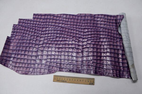 Кожа КРС с тиснением под кроко, фиолетовая, 15 дм2.-AB1-99