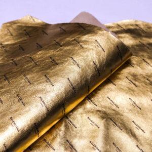 Кожа КРС с принтом, золотая, 29 дм2. -109656