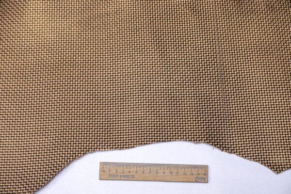 Кожа КРС растительного дубления с тиснением, пола, коричневый металлик, 121 дм2. -109659