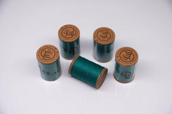 """Нить """"GALACES"""" вощеная круглая 0,55 мм. Волокно RAMIE. Бирюзовая-m035"""
