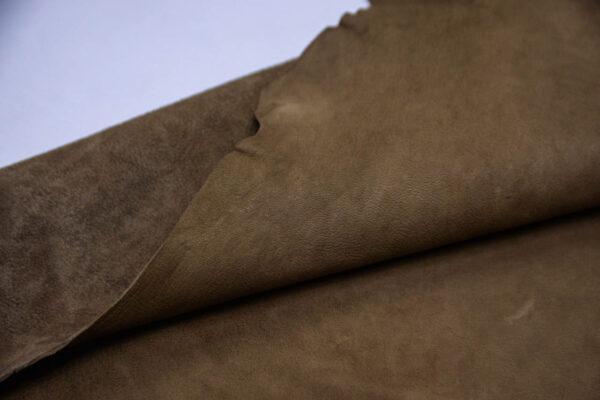 Кожа козы (краст), хаки с винтажным эффектом, 56 дм2, Conceria Martucci Teresa S.R.L.-109896