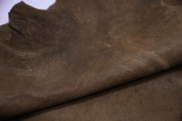 Кожа козы (краст), хаки с винтажным эффектом, 57 дм2, Conceria Martucci Teresa S.R.L.-109897