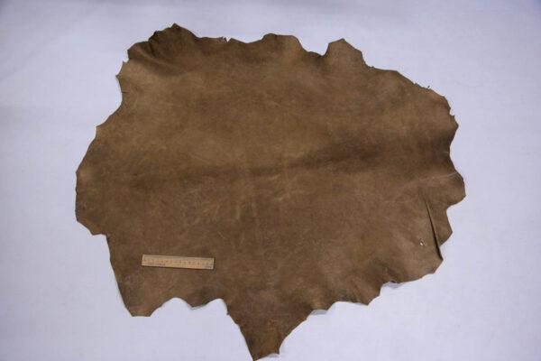 Кожа козы (краст), хаки с винтажным эффектом, 50 дм2, Conceria Martucci Teresa S.R.L.-109900