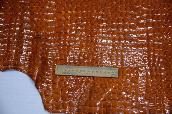Кожа оленя, лак с тиснением, рыжая, 101 дм2, Bonaudo S.p.A.-109974