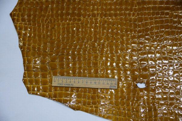 Кожа оленя, лак с тиснением, горчичная, 64 дм2, Bonaudo S.p.A.-109975