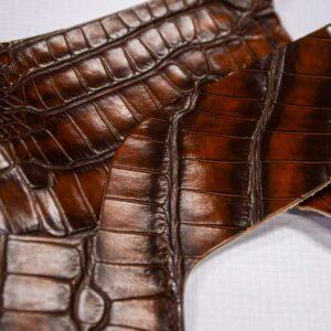 Кожа крокодила, коричнево-коньячная- kr-222