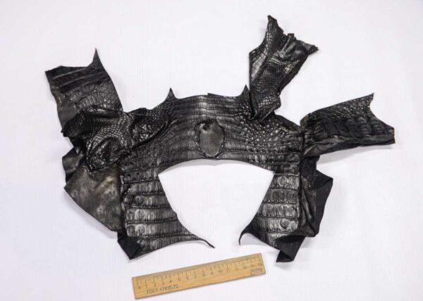 Кожа крокодила, черная- kr-255
