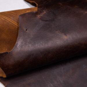 Кожа КРС крейзи хорс (Crazy Horse) с эффектом пул ап (Pull Up), темно-коричневая, 91 дм2.-109979