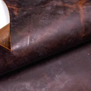 Кожа КРС крейзи хорс (Crazy Horse) с эффектом пул ап (Pull Up), темно-коричневая, 68 дм2.-109980