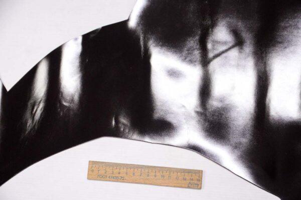 Кожа теленка, матовый лак, черная, 48 дм2, Russo di Casandrino S.p.A.-109993