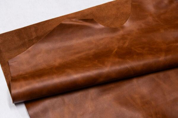 Кожа КРС, светло-коричневая с мраморным эффектом, 162 дм2.-109996