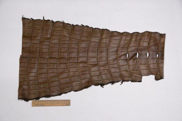 Кожа крокодила, хаки, 62х35 см.- kr-305
