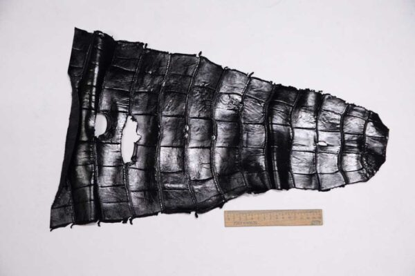 Кожа крокодила, черная, 55х32 см.- kr-317